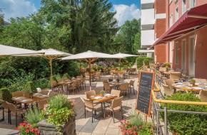 Terrasse im Restaurant Linner im Oranien Hotel & Residences Wiesbaden