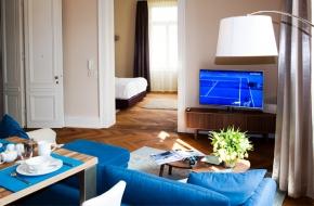 Wohnzimmer im Komfort Apartment im Oranien Hotel & Residences Wiesbaden 2